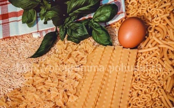 Правильное сочетание углеводов в продуктах, макароны