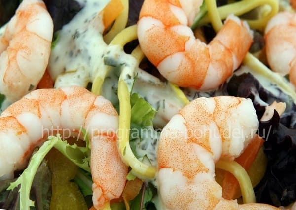 блюда с высоким содержанием белка, креветки